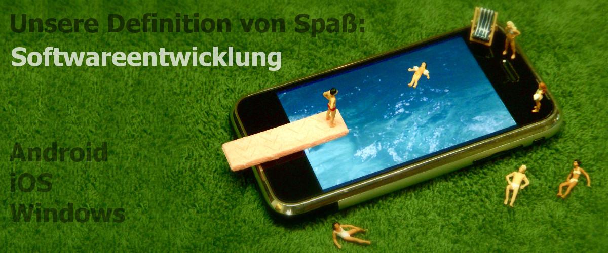BitBumper Titel: Unsere Definition von Spass: Softwareentwicklung für Android, iOS und Windows (Bild zeigt Smartphone als Pool mit Menschen)